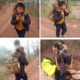 Баща в Китай носи сина си цели 18 мили до училище всеки ден, защото момчето има двигателни увреждания
