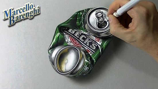 How-to-draw-a-crushed-can-of-beer-3D-hyper-realistic-art