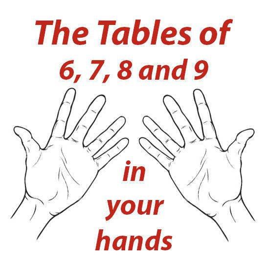 Таблицата за умножение с 6, 7, 8 и 9 във вашите ръце