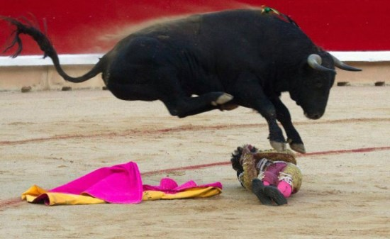 epa03297045 A 'novillo-toro' bull from the ranch of El Parralejo leaps over the young bullfighter Gomez del Pilar after he abandoned his cape as he tried a pass on his knees as the bull enters the bullring in Pamplona, Spain, 05 July 2012. The bull did not gore the 'novillero' fighter in the first bullfight of the San Fermin fiesta. The fiesta officially kicks off tomorrow 06 July at noon and the first running of the bulls or 'encierro is on 07 July morning. EPA/JIM HOLLANDER +++(c) dpa - Bildfunk+++