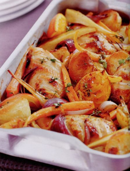 Пиле с кореноплодни зеленчуци