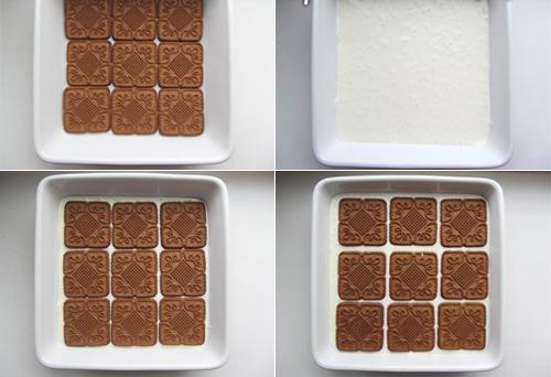 Редуване на бял крем с кафяви бисквити