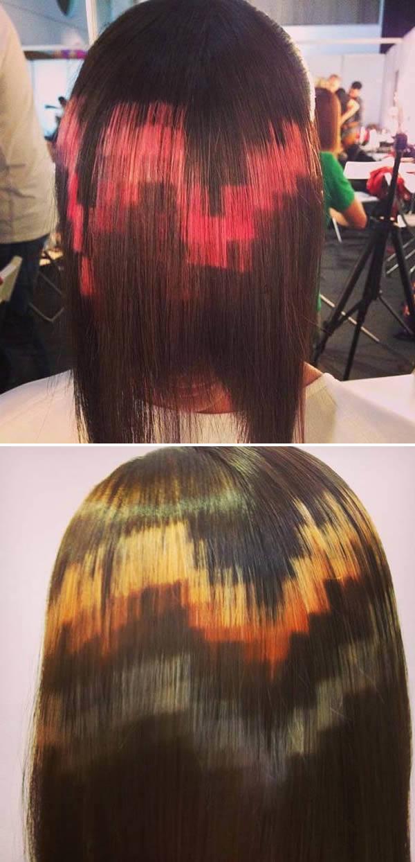 Коса боядисана на пиксели